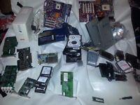 job lot of mostly vintage computer gear motherboards tv cards back ups 300gb sas hard drives x6 etc