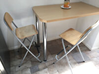 4 light oak and metal breakfast bar stools