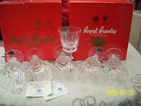 Brierly crystal wine glasses, six short stem, new unused in original boxes.