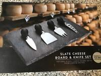 Slate cheese board and knife set