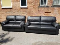 Fabulous BRAND NEW black leather sofa suite ,stylish 3 and 2 ,never used ,can deliver