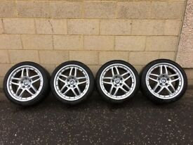 18 Inch Genuine Staggered E46 BMW Style 71 Clubsport Alloys & Tyres (Rare/Good Condition/Eagle F1)