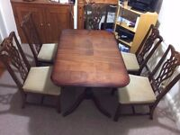 Wooden expendable dining table with 5 chairs