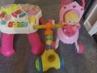 Fisher price baby walker, activity table and ball popper