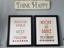 Set of 2 Framed Quotes Breathe and Rejoice 40 x 50cm each