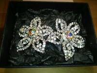 NEW LADIES / GIRL'S LARGE DOUBLE ,CRYSTAL HAIR SLIDE
