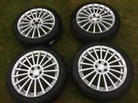 """4 x 17"""" Alloy Wheels with Brand New Tyres (Originally from Alfa Romeo GT)"""