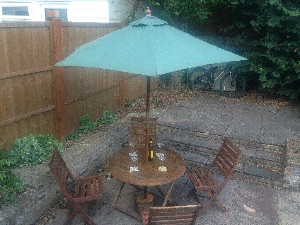 Wooden Garden Table And Chair Set Umbrella Rustic Iliser Log With A Hole
