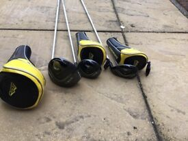 Driver, three wood and five wood. Hardly used great condition with head covers included.
