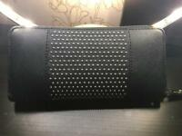 Michael Kors Black Leather and Silver Studded Wallet/Purse Large