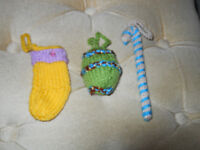 3 New Hand Knitted Christmas Decorations