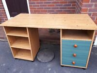 Pine-effect laminate study / office desk with drawers and shelves