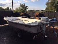 Dory Fishing Boat and trailer, 13.5ft. 30HP Johnston Outboard with spare 3.5HP Suzuki outboard.
