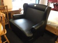 Black faux leather 2 seater wingback sofa