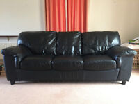Black soft leather sofa set of 3 and 2 seaters, used but in good condition