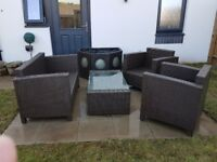 Rattan furniture set with rattan fish pond