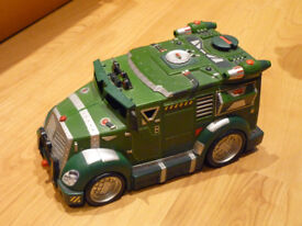 Teenage Mutant Ninja Turtle toy truck, helicopter and figures, complete with accessories