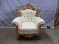 1 Ex-Display White & Gold Leaf Gilded Vienna Armchair Luxury Wedding Ornate Carved Furniture King