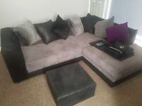 Grey and black corner couch