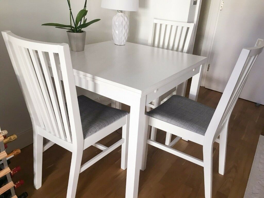 Ikea Ekedalen Extendable White Table 3 Dining Chairs South