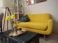Saffron Yellow 2-seat sofa from Made - good condition