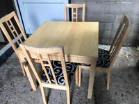 Modern extending dining table and 4 chairs FREE DELIVERY PLYMOUTH AREA
