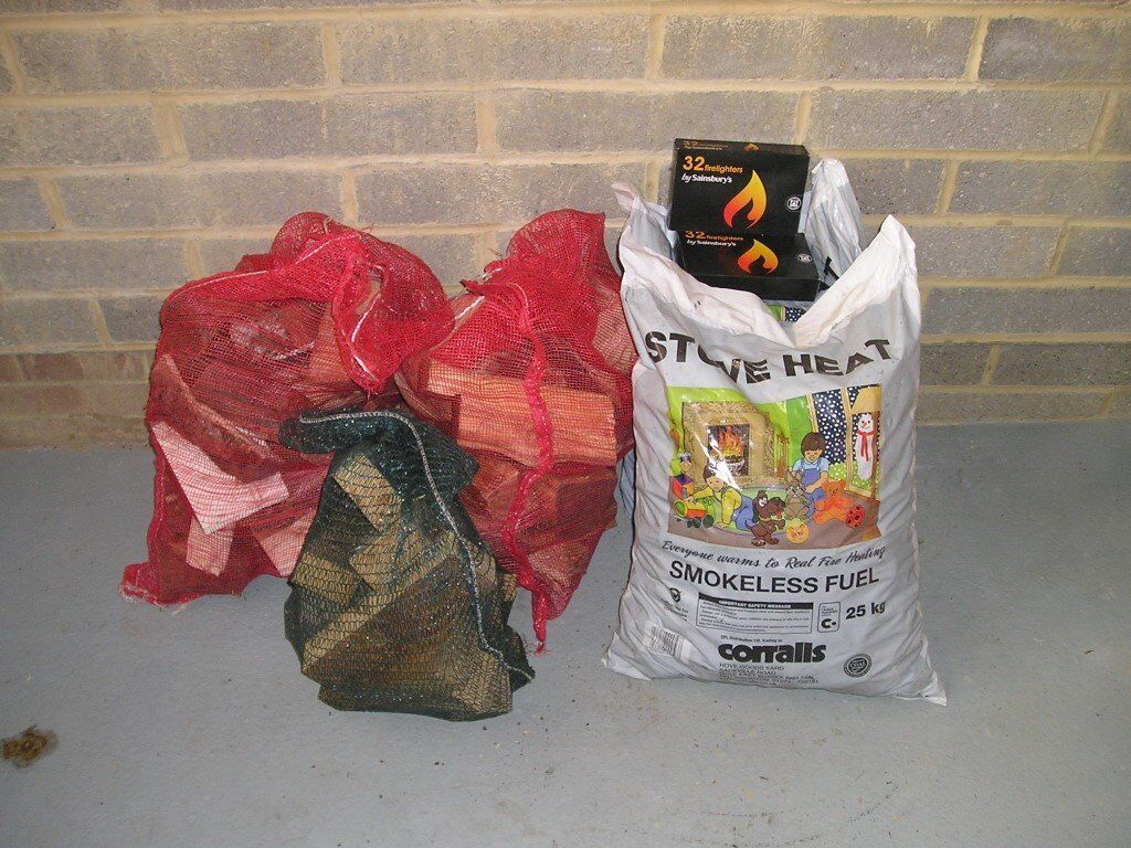 Coal and logs, ideal for multifuel stove.