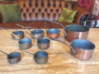 Antique vintage copper pan set of nine