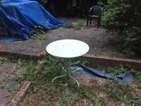 Green steel garden table