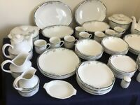 Royal Doulton JUNO pattern dinner service with casserole, platter, cups, plates, bowls. All VGC.