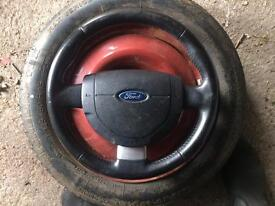 Ford Fiesta Mk6 Mk7 leather steering wheel with airbag Transit Connect