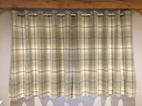"DUNELM Highland Check Ochre Eyelet Curtains - 1 Pair 66"" x 54"""