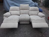 FREE DELIVERY! 3-seater fabric electric recliner sofa
