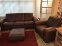 DFS 3 Seater Sofa, Chair & Foot-Stool (Brown Leather) Very Good Condition