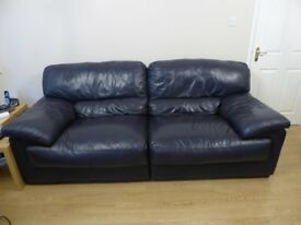 Leather Sofa and Armchair Navy
