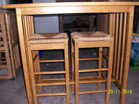 BREAKFAST BAR SET WITH TWO STOOLS