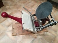Adana 5x3 printing press and type