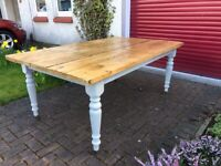 Solid Oak Upcycled Dining Table - Reclaimed Timbers on Antique Painted Legs