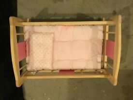 Wooden cot crib dolls bed