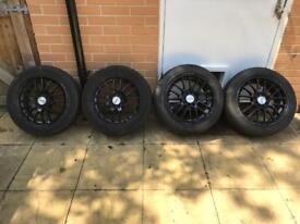 "15"" 4x100 4x108 Black Alloy Wheels ET38 6.5J Tyre 185/55/15 Dezent Honda Mx5 Civic Ford"