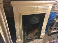 Victorian Edwardian cast iron fireplace serial number N2 105 30, white, good condition.