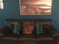 1x2 & 1x3seater Gorgeous Dark Brown Leather Sofas