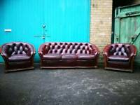 Vintage retro 80s leather chesterfield sofa suite armchairs