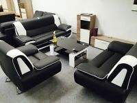 BRAND NEW LEATHER 3+2 SEATER SOFA SUITE, RED/BLACK/WHITE/BROWN/CREAM