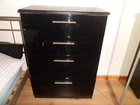 black gloss chest of drawers