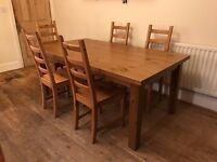 IKEA STORNÄS/KAUSTBY style fixed length antique pine table and 5 chairs