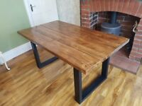 New Handmade Farmhouse Reclaimed Dining Table 160cm x 88cm available every size Dark Oak