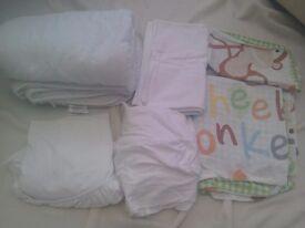 Cotbed linen: duvet, duvet cover, pillow case, 2 fitted sheets, brushed cotton sheet