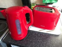Red Kettle Toaster and Basin