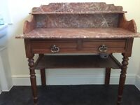 Beautiful French washstand, with marble top and wooden base. Bought in France.